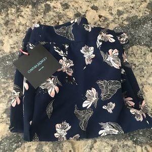 Cynthia Rowley Navy Floral Pants. NWT. Size 8.